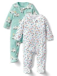 Gap Ice Cream Zip Footed One Piece (2 Pack) - Multi