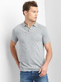 Gap Flag Embroidery Polo - Heather grey