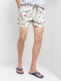"Gap Print Drawcord Swim Trunks (5"") - Tropical wihte"