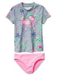 Gap Flamingo Rashguard Swim Two Piece - Grey heather