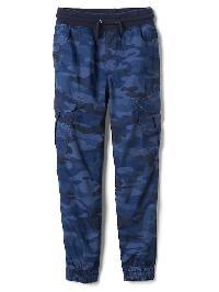 Gap Poplin Cargo Joggers - Blue camo