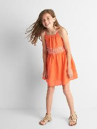 Gap Embroidery Double Layer Spaghetti Dress - Neon orange bolt