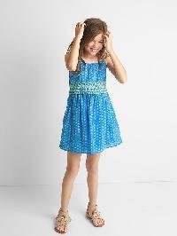 Gap Print Embroidery Double Layer Spaghetti Dress - Barclay blue