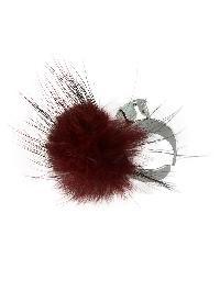 Red Color Fake Fur Rhinestone Cuff Rings