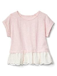 Gap Eyelet Peplum Top - Pink heather