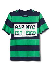 Gap Logo Stripe Short Sleeve Tee - Parrot green