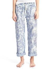 Gap Print Roll Tab Sleep Pants - Toile de jouy blue