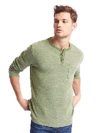 Gap Spacedye Long Sleeve Henley - Olive heather