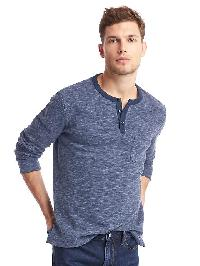 Gap Spacedye Long Sleeve Henley - Navy heather