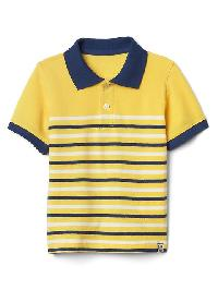 Gap Multi Stripe Pique Polo - Canary yellow