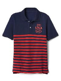 Gap Logo Stripe Pique Polo - Elysian blue