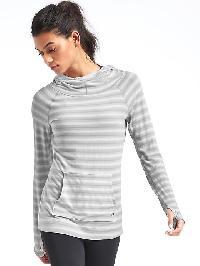 Gapfit Breathe Ombre Stripe Pullover Hoodie - Light grey