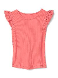 Gap Crochet Sleeve Tee - Fire coral
