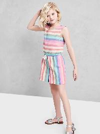 Gap Pastel Stripe Culotte Romper - Pink print