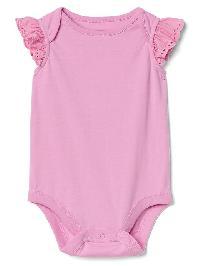 Gap Eyelet Flutter Bodysuit - Sugar pink