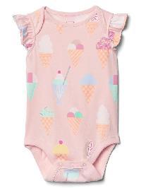 Gap Print Flutter Bodysuit - Pink cameo
