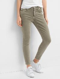 Gap Mid Rise True Skinny Ankle Color Jeans - Olive