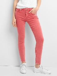 Gap Mid Rise True Skinny Ankle Color Jeans - Weathered red