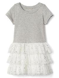 Gap Short Sleeve Tiered Dress - Ivory