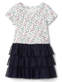 Gap Short Sleeve Tiered Dress - Navy