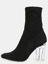 High Shaft Clear Heel Booties BLACK