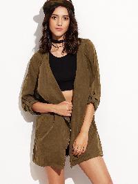 Army Green Hooded Asymmetric Zipper Drawstring Outerwear