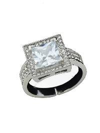 Silver Color Imitation Crystal Big Band Rings