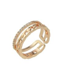 Rosegold ColorRhinestone Cluster Wide Cuff Finger Rings