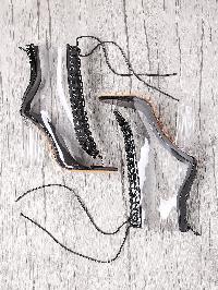 Lace Up Zipper Back Transparent Heels