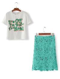 Slogan Print Tee With Lace Skirt