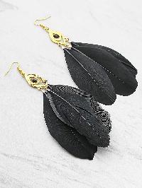 Feather Embellished Drop Earrings