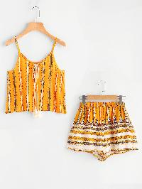 Tribal Print Tassel Tie Neck Cami Top With Shorts