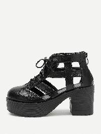 Caged Design Lace Up Platform Heeled Shoes