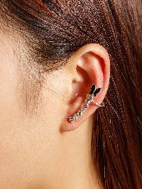 Rhinestone Embellished Butterfly Ear Cuff 1pcs