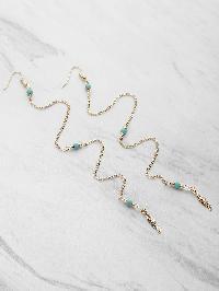 Leaf Detail Chain Drop Earrings With Gemstone