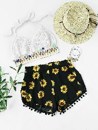 Sunflower Printed Pom Pom Hem Shorts