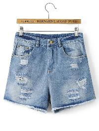 Studded Detail Ripped Denim Shorts