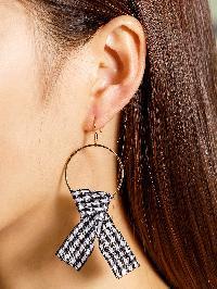 Check Knot Embellished Hoop Earrings