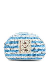 Patch Detail Striped Pouch Bag