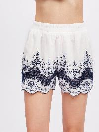 Embroidered Hollow Out Scallop Hem Shorts