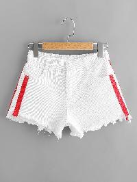 Tape Side Frayed Hem Denim Shorts