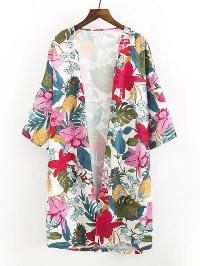 Open Front Flower Print Longline Kimono
