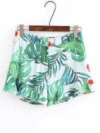 High Waist Leaves Print Shorts