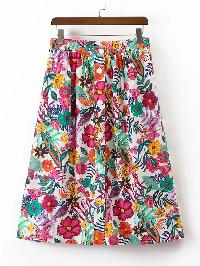 Flower Print Single Breasted A Line Skirt