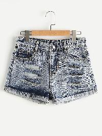 Ripped Bleach Wash Cuffed Denim Shorts