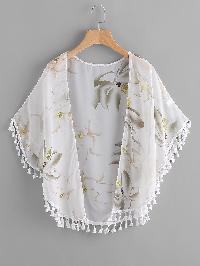 Tassel Trim Florals Chiffon Kimono