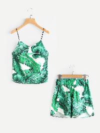 Palm Leaf Print Cami Top With Dolphin Shorts