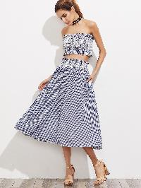 Gingham Frill Trim Bandeau Top With Skirt