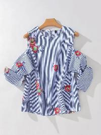 Open Shoulder Pinstripe Embroidery Top