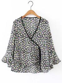 Surplice Front Bell Sleeve Ruffle Top